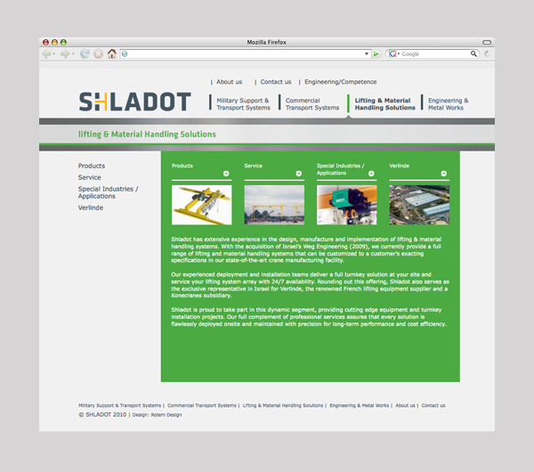 Shladot Ltd website division's main page | brand web design